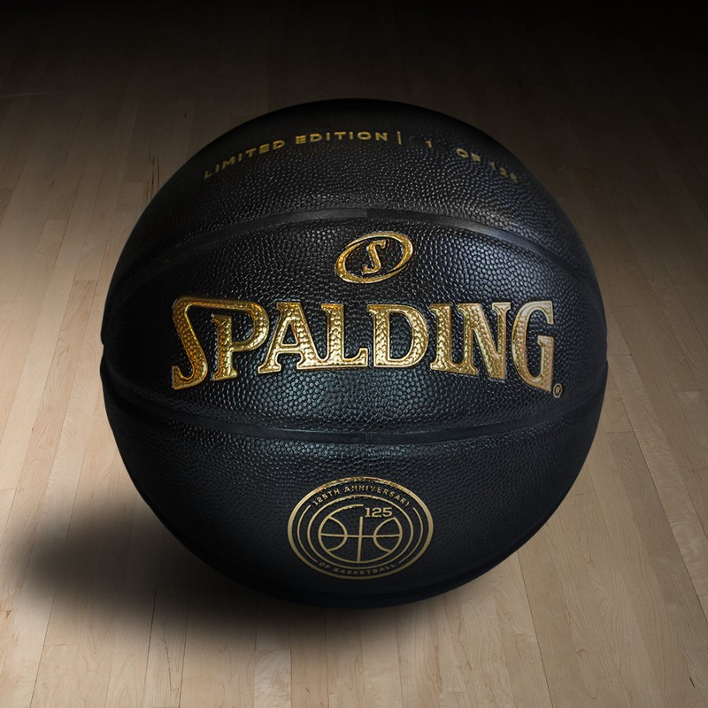 A look at one of the 125 limited-edition commemorative SPALDING® basketballs, which will be featured on the brand's Facebook, Twitter, Instagram, and Spalding.com sites throughout the month of December. Image via Spalding