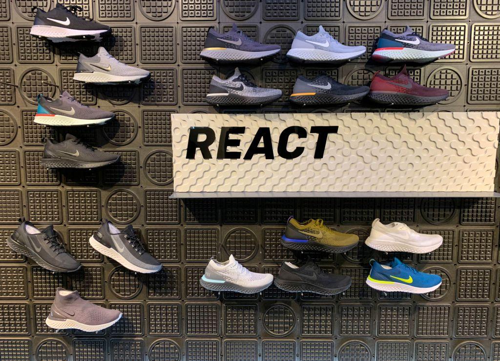 Nike React Running shoe display.