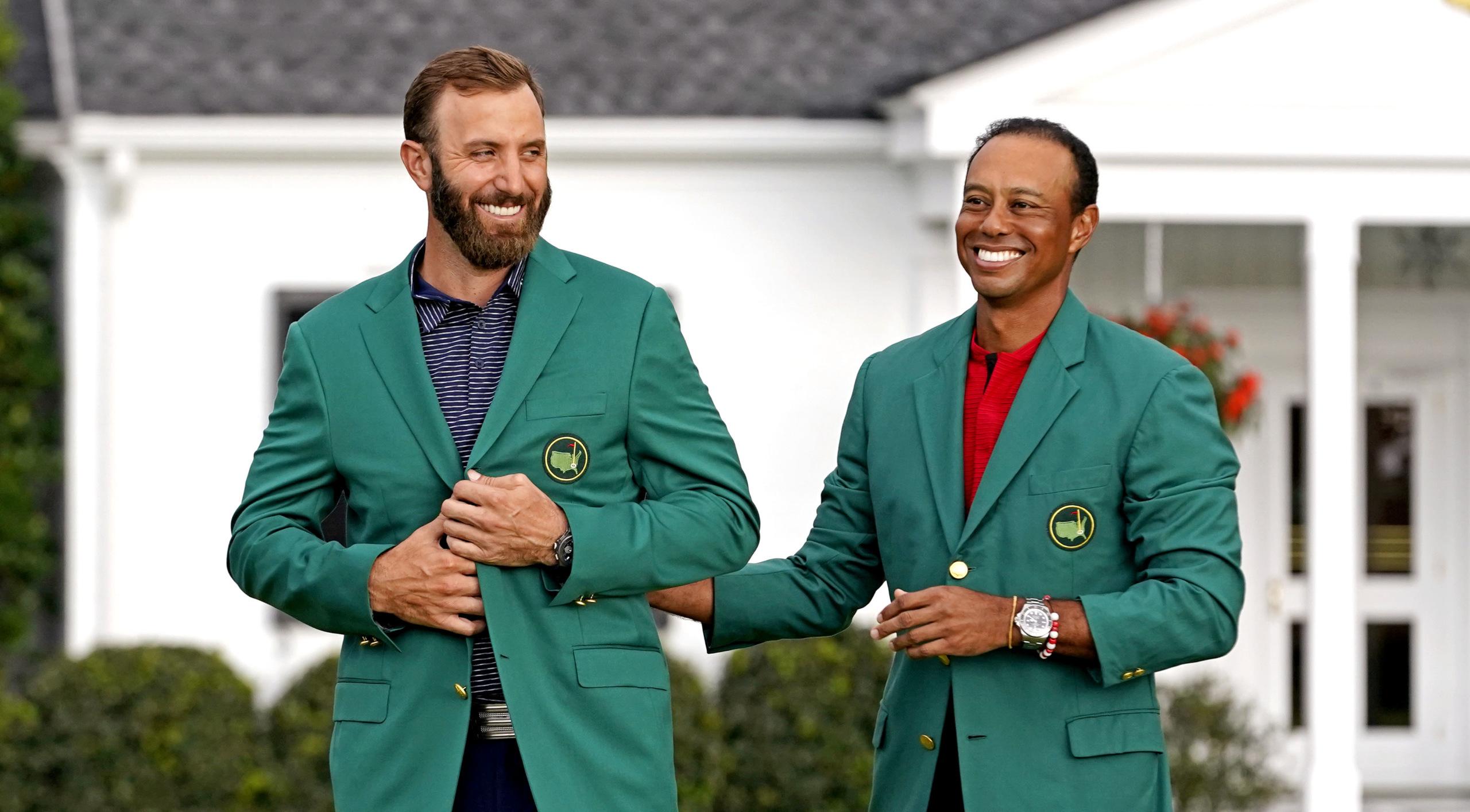 green jacket masters dustin johnson tiger woods